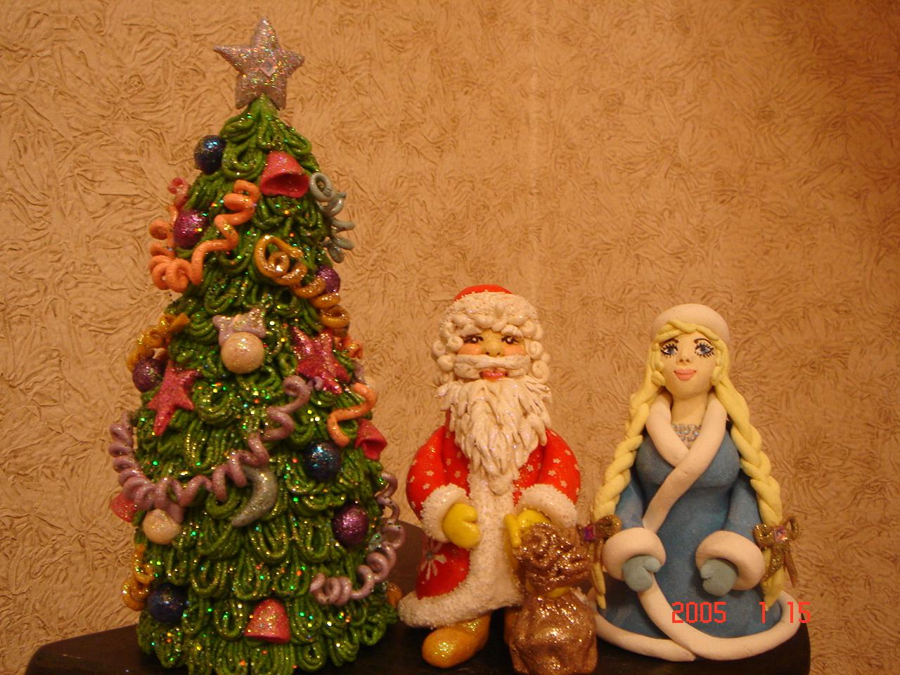 Дед мороз и снегурочка из теста своими